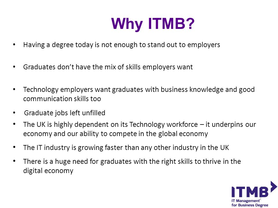 Mock Interview Days, Master Classes and CV Clinics Held throughout the year, they are an exclusive opportunity for ITMB students to practise their interview techniques with a number of different employers and get feedback on their CV's They are also set tasks with other ITMB students and assessed on their teamwork skills 13