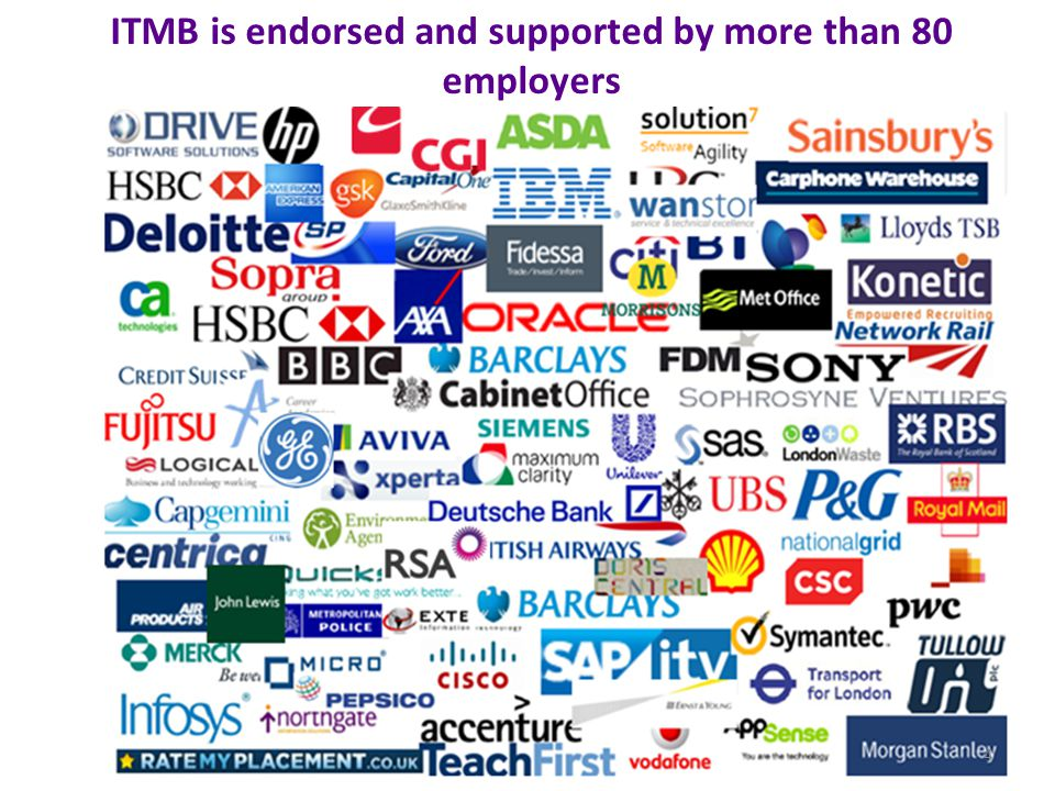 ITMB is endorsed and supported by more than 80 employers 4