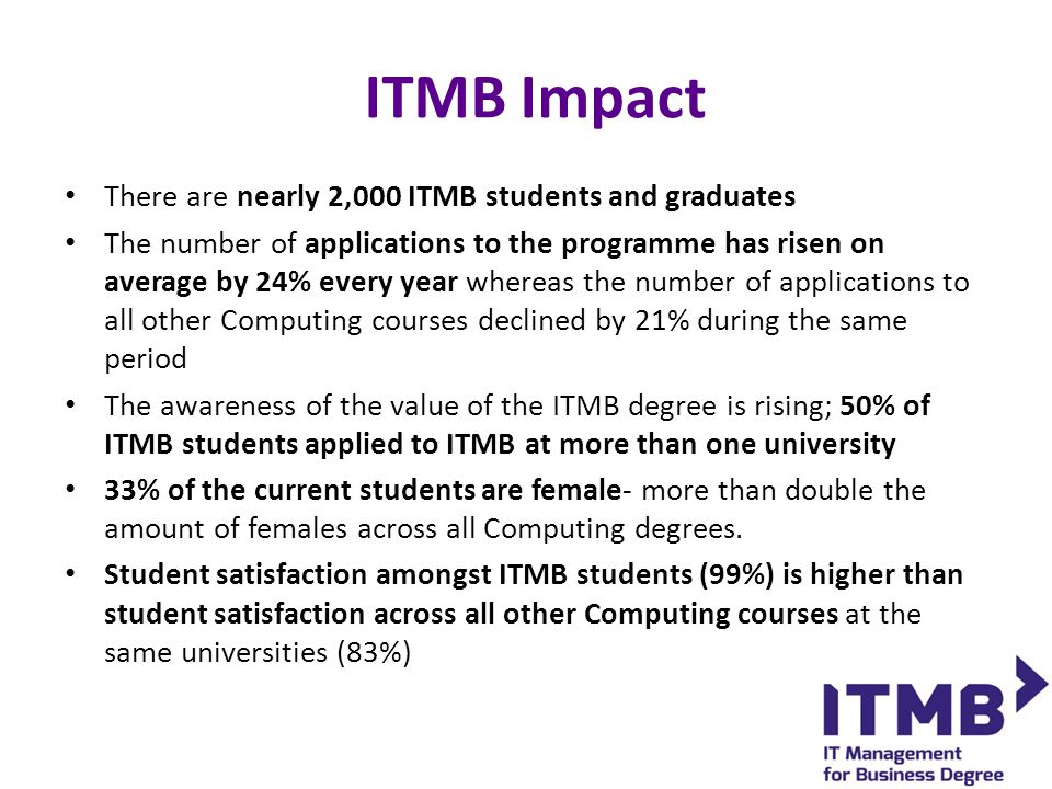 ITMB Impact There are nearly 2,000 ITMB students and graduates The number of applications to the programme has risen on average by 24% every year whereas the number of applications to all other Computing courses declined by 21% during the same period The awareness of the value of the ITMB degree is rising; 50% of ITMB students applied to ITMB at more than one university 33% of the current students are female- more than double the amount of females across all Computing degrees.