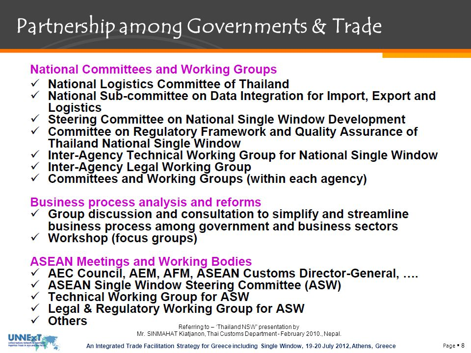 Page  8 An Integrated Trade Facilitation Strategy for Greece including Single Window, 19-20 July 2012, Athens, Greece Partnership among Governments & Trade Referring to – 'Thailand NSW presentation by Mr.
