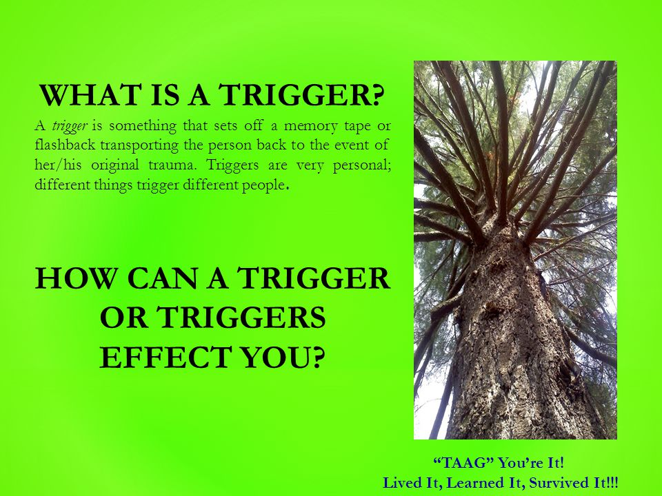 WHAT IS A TRIGGER? A trigger is something that sets off a memory tape or flashback transporting the person back to the event of her/his original traum