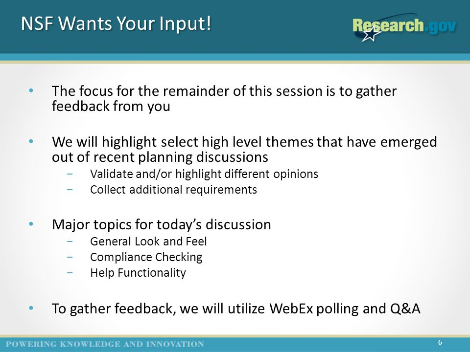 NSF Wants Your Input.
