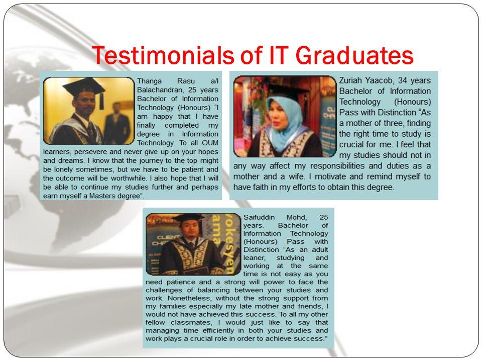 Testimonials of IT Graduates