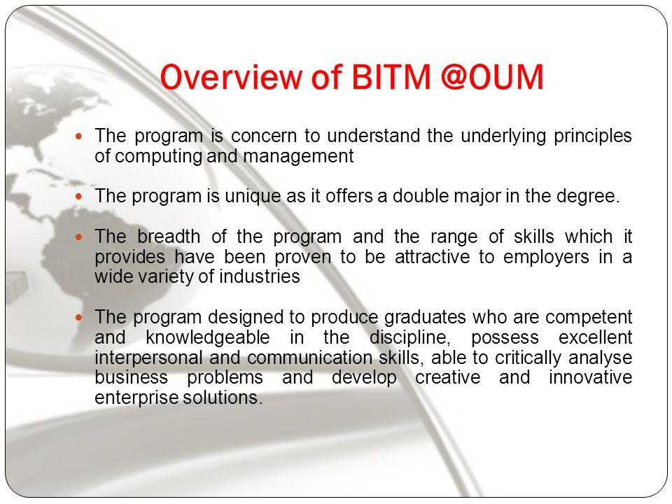 BITM Component Information System Development Networking Multimedia Database E-commerce Network Management Financial Operation Information System Human resource Organizational behavior
