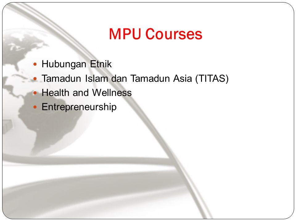 MPU Courses Hubungan Etnik Tamadun Islam dan Tamadun Asia (TITAS) Health and Wellness Entrepreneurship