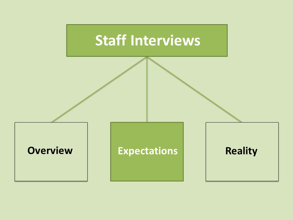 Staff Interviews Overview ExpectationsReality