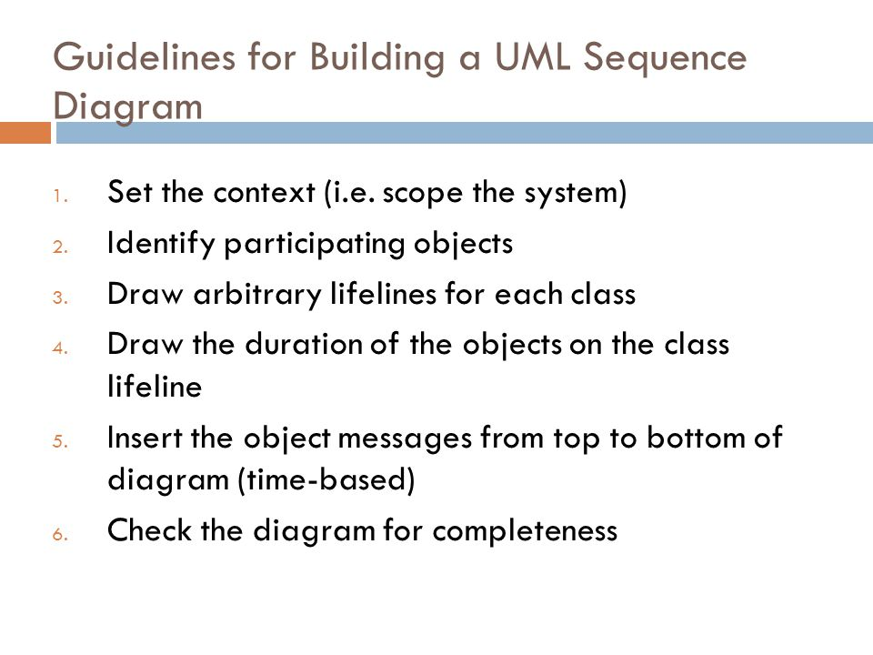 Guidelines for Building a UML Sequence Diagram 1. Set the context (i.e.