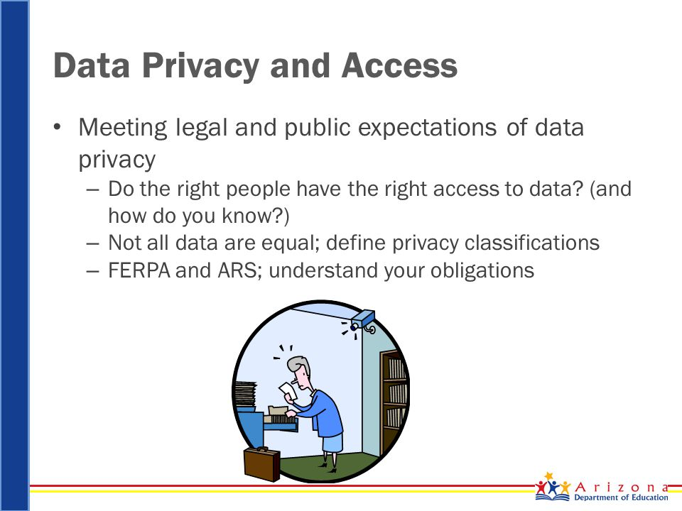Data Privacy and Access Meeting legal and public expectations of data privacy – Do the right people have the right access to data.