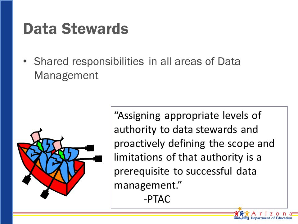 Data Stewards Shared responsibilities in all areas of Data Management Assigning appropriate levels of authority to data stewards and proactively defining the scope and limitations of that authority is a prerequisite to successful data management. -PTAC