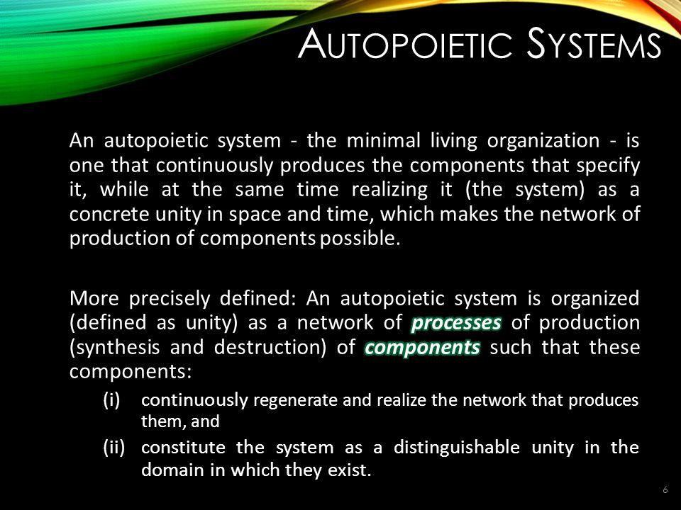A UTOPOIETIC S YSTEMS 6