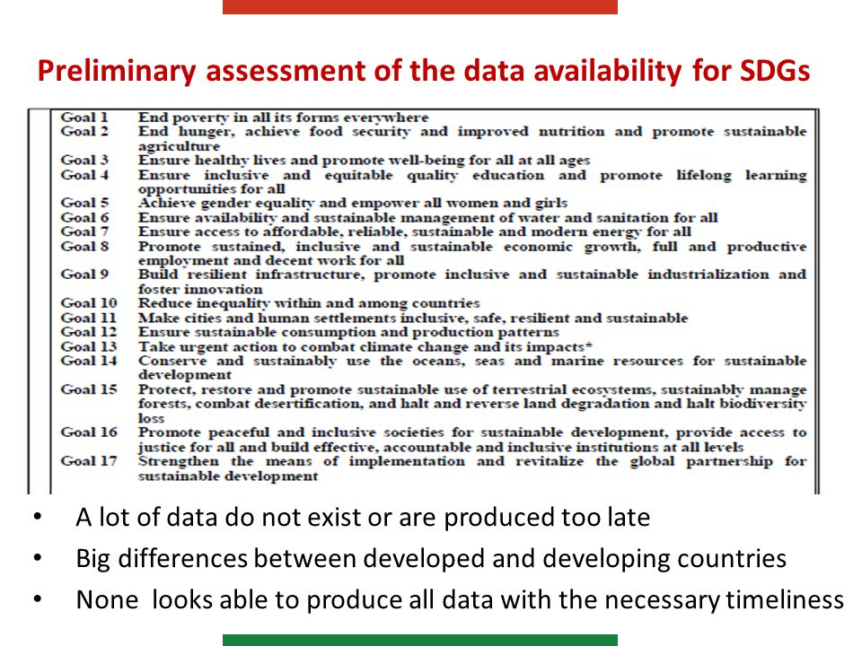 Preliminary assessment of the data availability for SDGs A lot of data do not exist or are produced too late Big differences between developed and developing countries None looks able to produce all data with the necessary timeliness