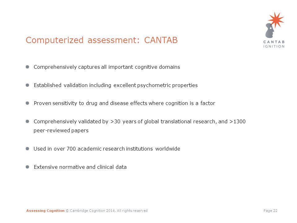 Assessing Cognition © Cambridge Cognition 2014.