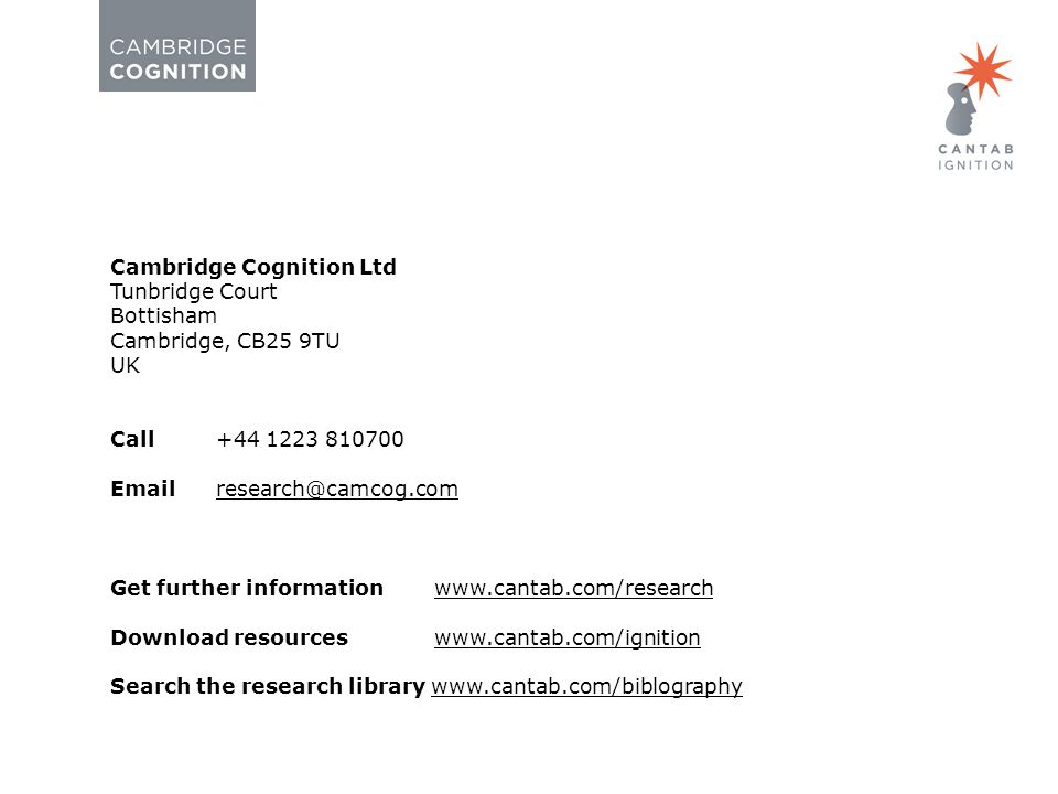 Page 33Clinical Trials © Cambridge Cognition 2014.