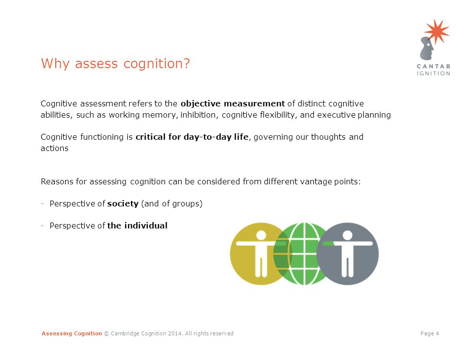 Assessing Cognition © Cambridge Cognition 2014. All rights reservedPage 4 Why assess cognition.
