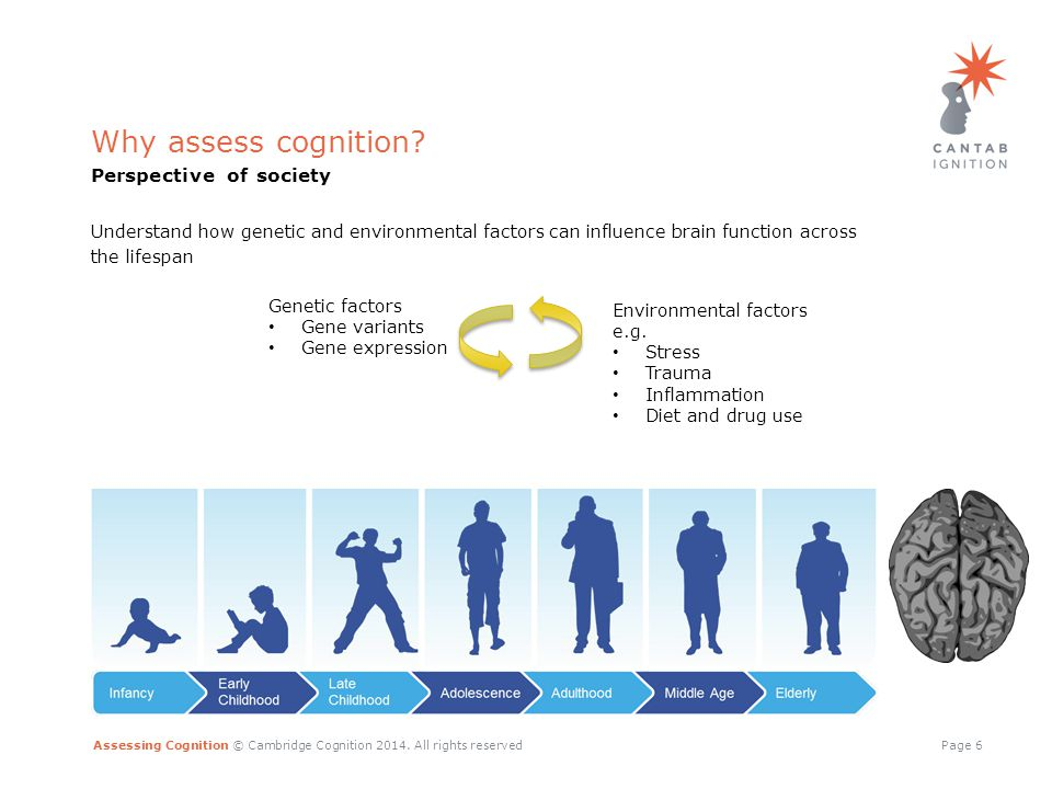 Assessing Cognition © Cambridge Cognition 2014.All rights reservedPage 7 Why assess cognition.