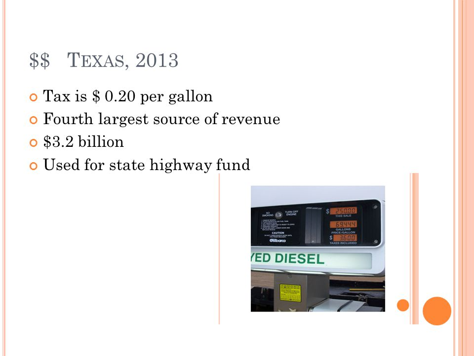 $$ T EXAS, 2013 Tax is $ 0.20 per gallon Fourth largest source of revenue $3.2 billion Used for state highway fund