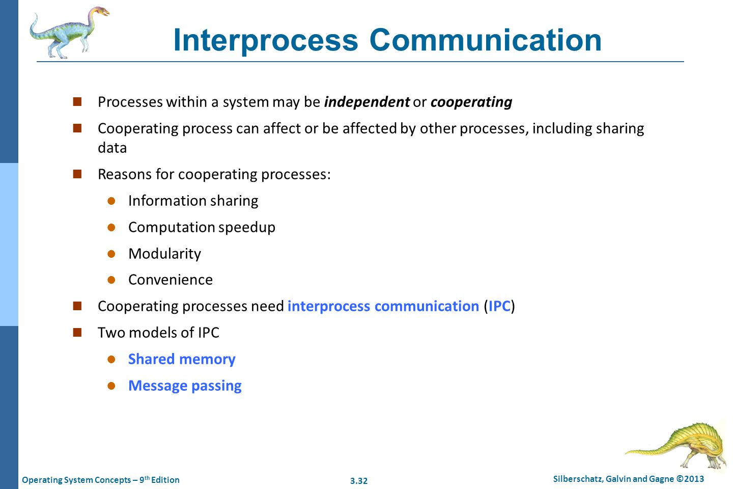 3.32 Silberschatz, Galvin and Gagne ©2013 Operating System Concepts – 9 th Edition Interprocess Communication n Processes within a system may be indep