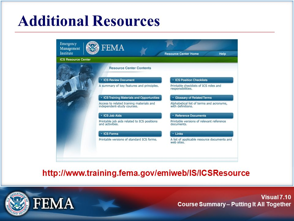 Visual 7.10 Course Summary – Putting It All Together Additional Resources http://www.training.fema.gov/emiweb/IS/ICSResource