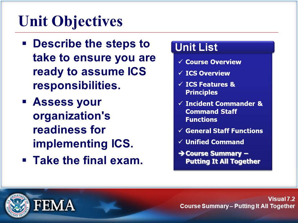 Visual 7.2 Course Summary – Putting It All Together Unit Objectives  Describe the steps to take to ensure you are ready to assume ICS responsibilities.