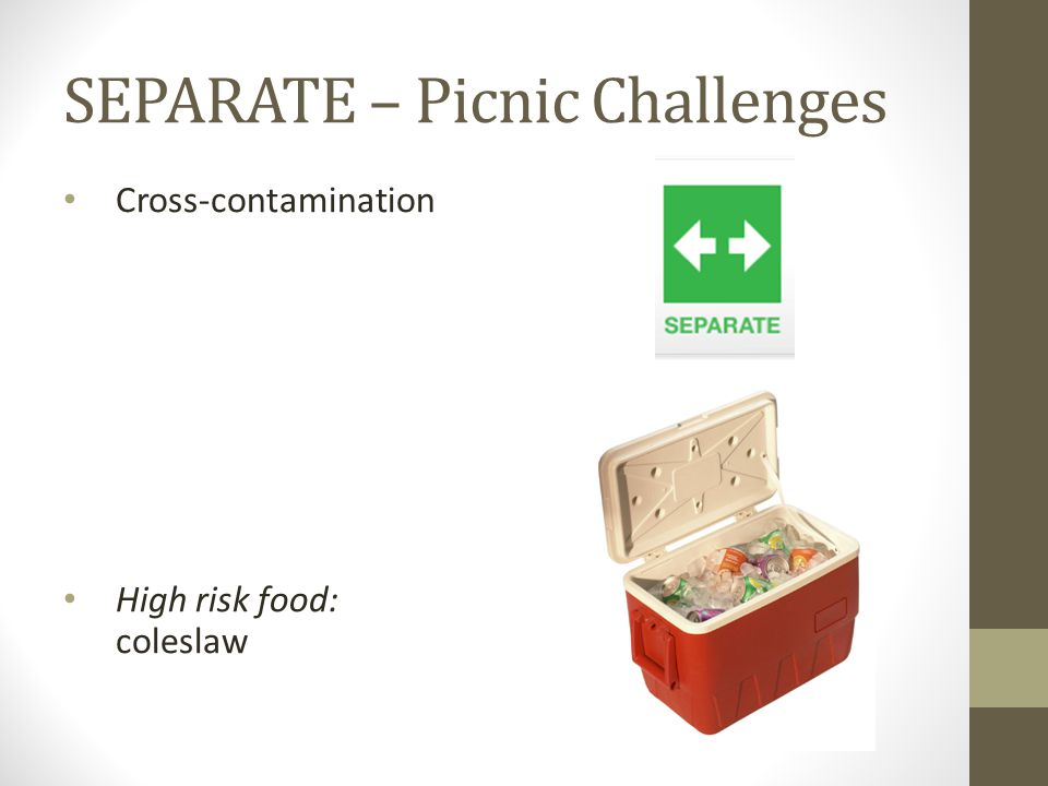 SEPARATE – Picnic Challenges Cross-contamination High risk food: coleslaw