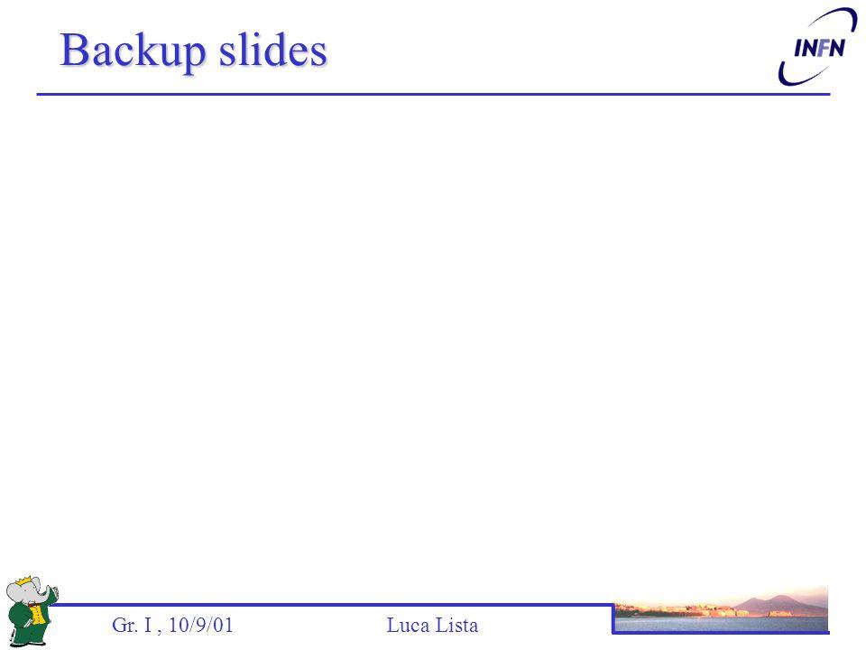 Gr. I, 10/9/01 Luca Lista Backup slides