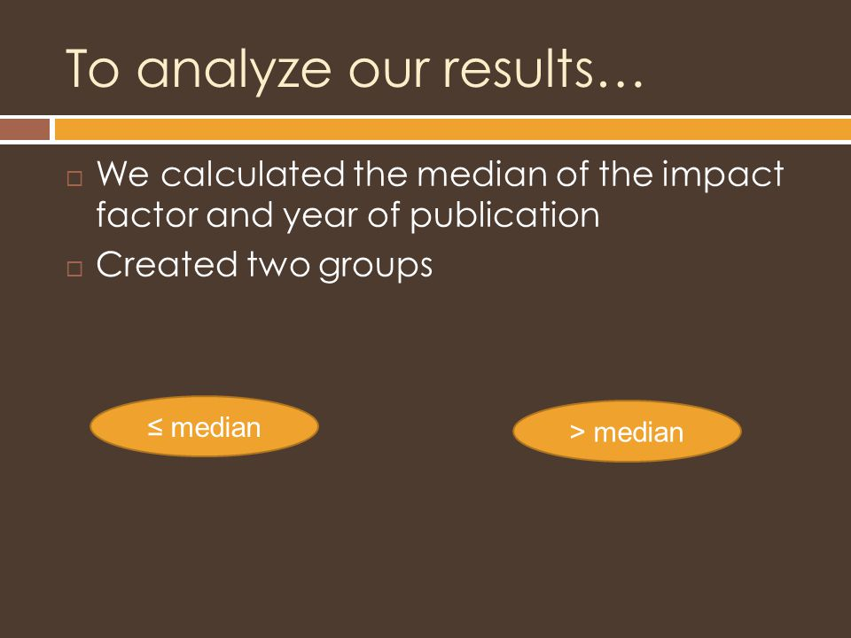 To analyze our results…  We calculated the median of the impact factor and year of publication  Created two groups ≤ median > median