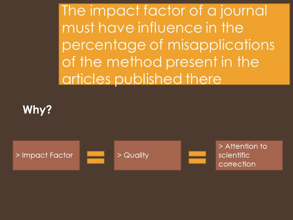 The impact factor of a journal must have influence in the percentage of misapplications of the method present in the articles published there Why.