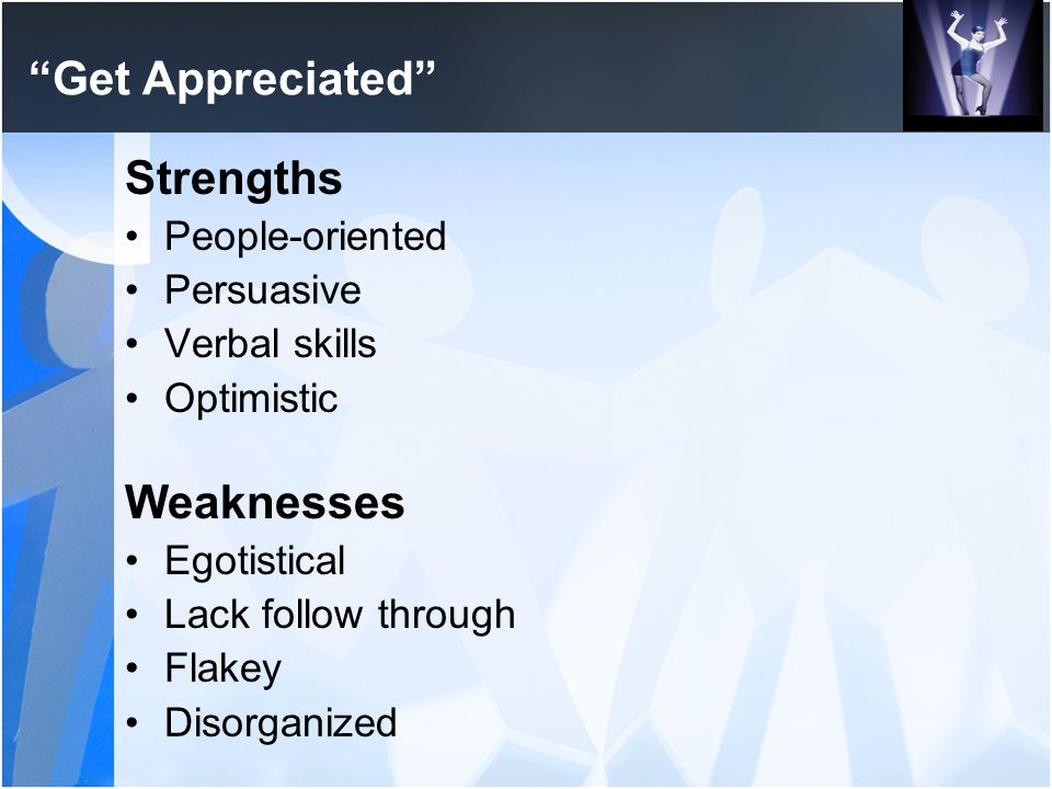 """Get Appreciated"" Strengths People-oriented Persuasive Verbal skills Optimistic Weaknesses Egotistical Lack follow through Flakey Disorganized"