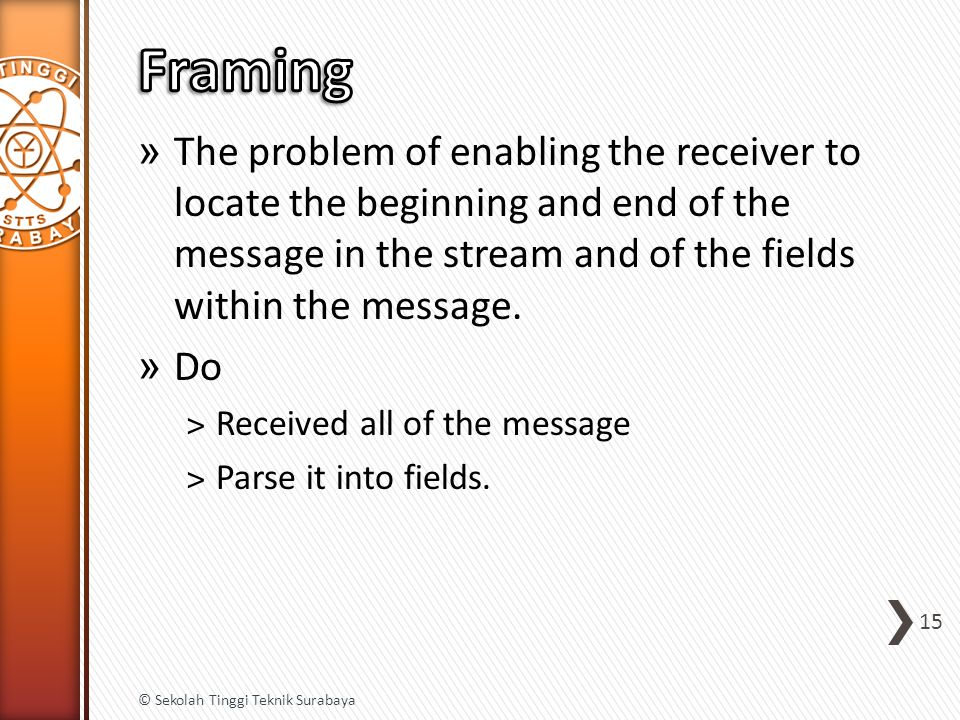 » The problem of enabling the receiver to locate the beginning and end of the message in the stream and of the fields within the message.