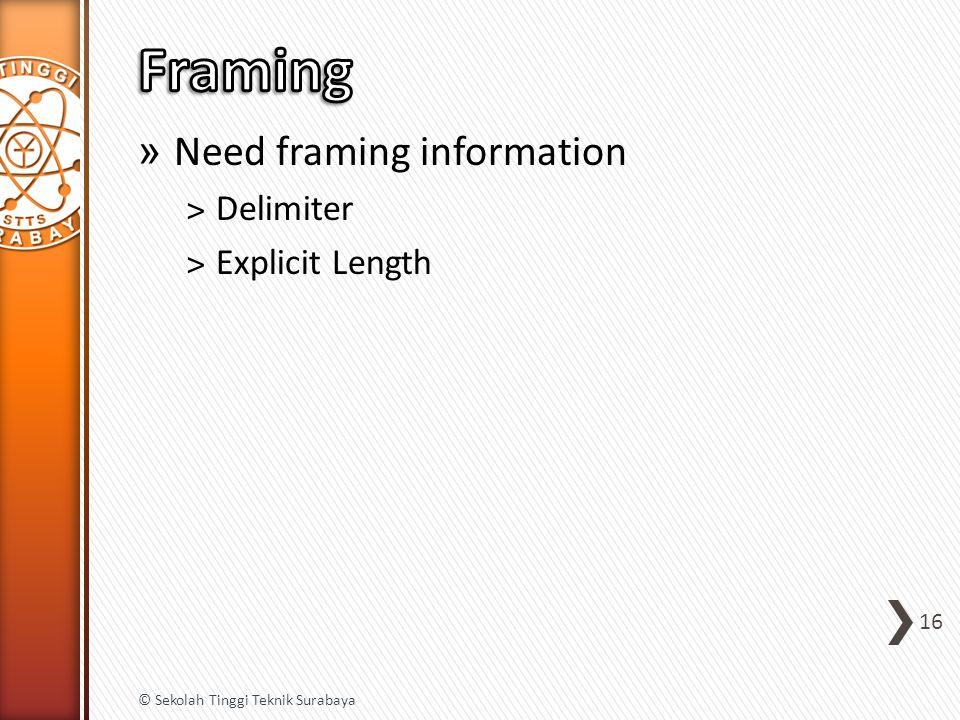 » Need framing information ˃Delimiter ˃Explicit Length 16 © Sekolah Tinggi Teknik Surabaya