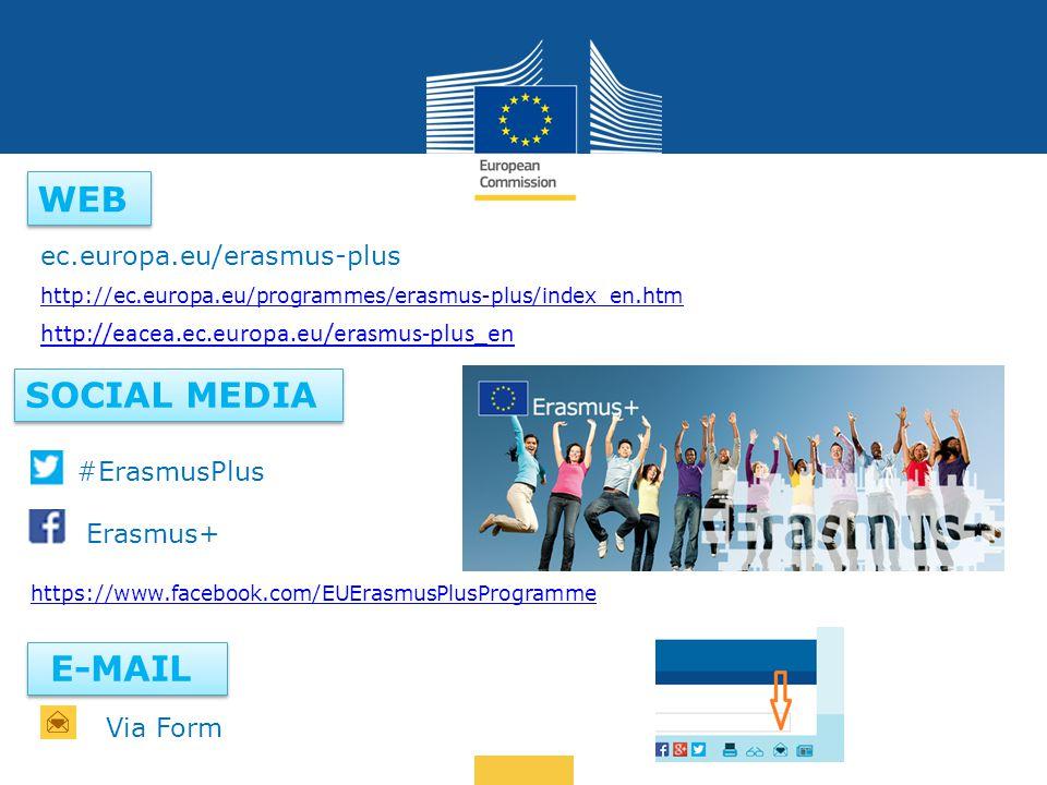 Date: in 12 pts … in other words WEB SOCIAL MEDIA ec.europa.eu/erasmus-plus #ErasmusPlus Erasmus+ https://www.facebook.com/EUErasmusPlusProgramme E-MAIL http://ec.europa.eu/programmes/erasmus-plus/index_en.htm http://eacea.ec.europa.eu/erasmus-plus_en Via Form