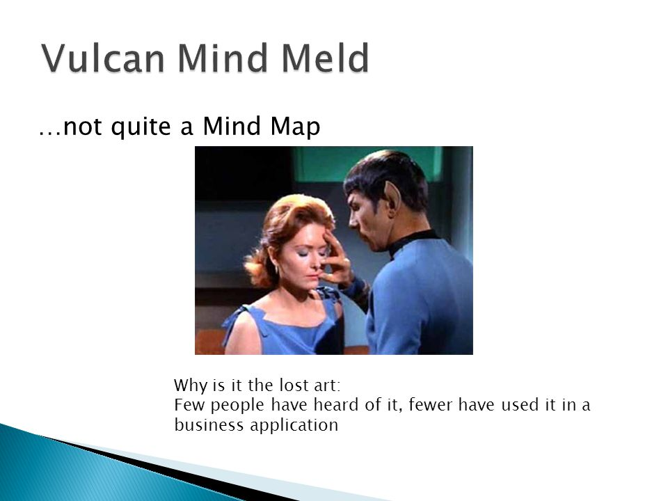 …not quite a Mind Map Why is it the lost art: Few people have heard of it, fewer have used it in a business application