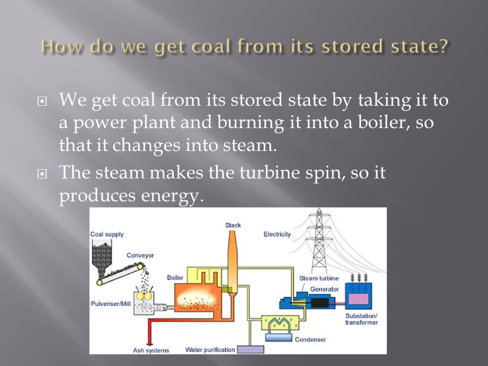 We get coal from its stored state by taking it to a power plant and burning it into a boiler, so that it changes into steam.