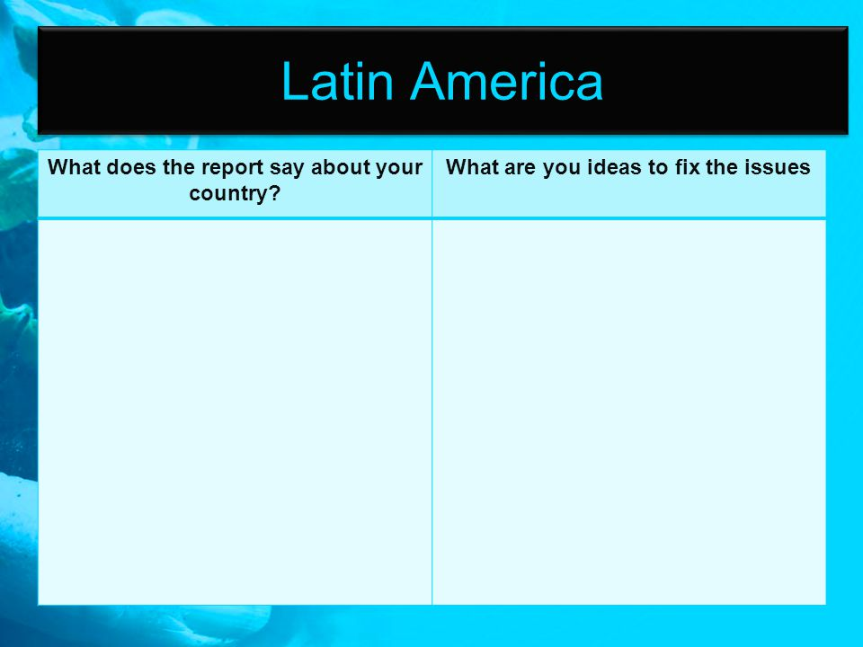 Latin America What does the report say about your country? What are you ideas to fix the issues