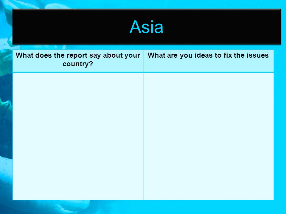 Asia What does the report say about your country? What are you ideas to fix the issues