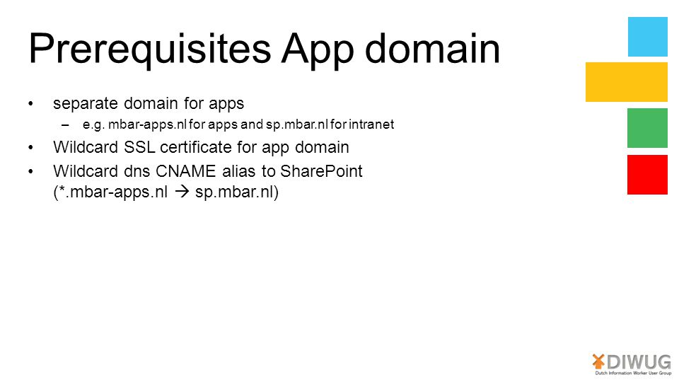 Prerequisites App domain separate domain for apps –e.g.