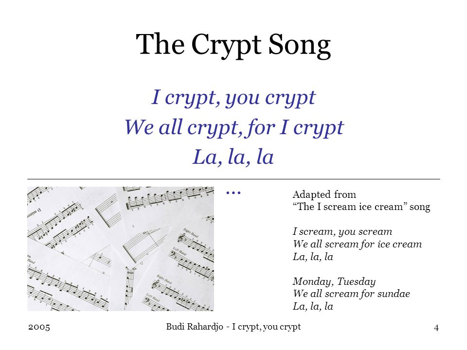 2005Budi Rahardjo - I crypt, you crypt4 The Crypt Song I crypt, you crypt We all crypt, for I crypt La, la, la … Adapted from The I scream ice cream song I scream, you scream We all scream for ice cream La, la, la Monday, Tuesday We all scream for sundae La, la, la