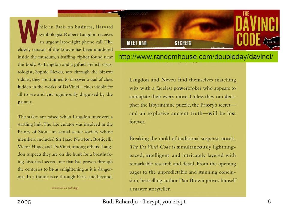 2005Budi Rahardjo - I crypt, you crypt6 http://www.randomhouse.com/doubleday/davinci/