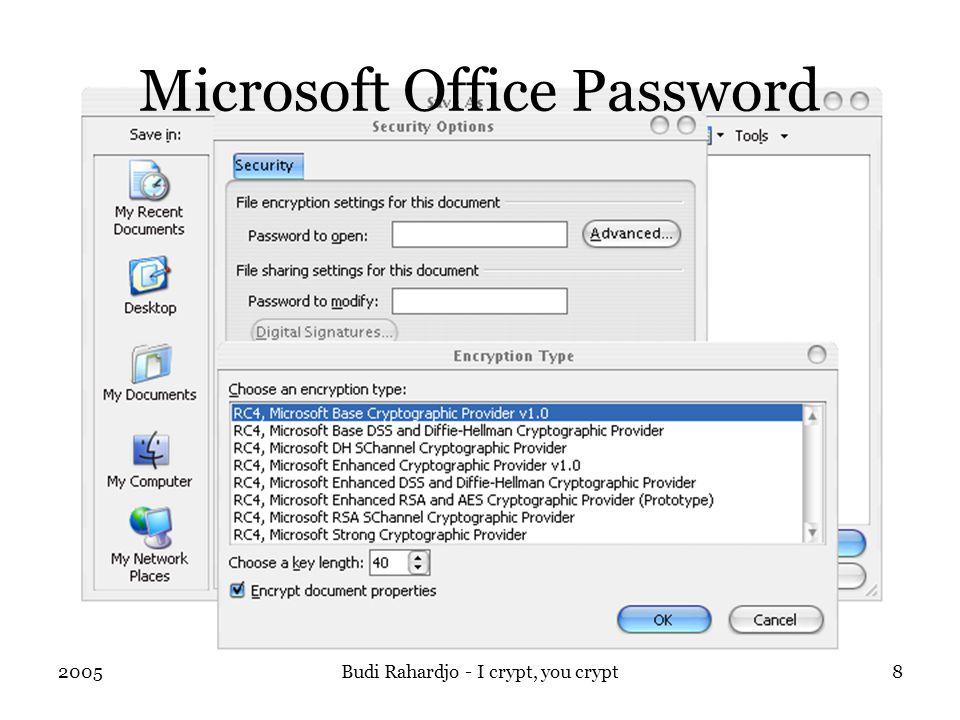 2005Budi Rahardjo - I crypt, you crypt8 Microsoft Office Password