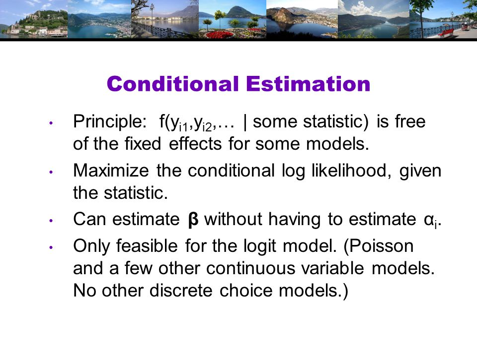 Conditional Estimation Principle: f(y i1,y i2,… | some statistic) is free of the fixed effects for some models.