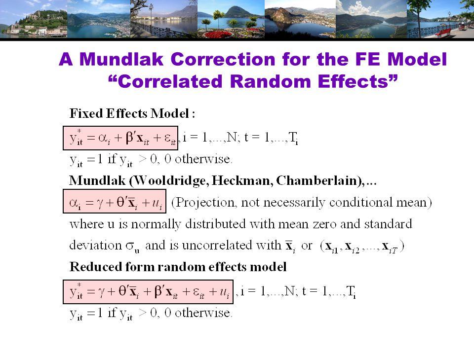 A Mundlak Correction for the FE Model Correlated Random Effects