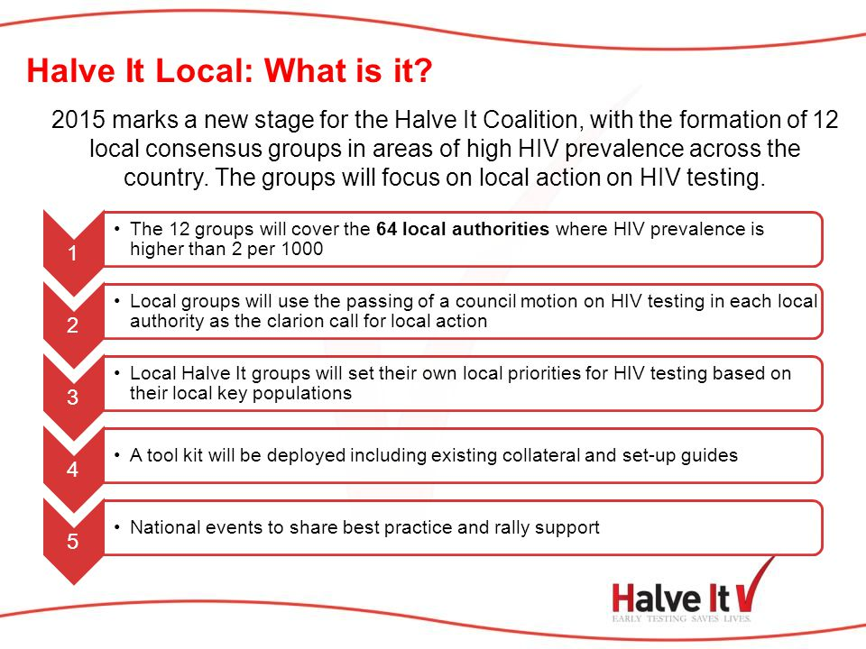 2015 marks a new stage for the Halve It Coalition, with the formation of 12 local consensus groups in areas of high HIV prevalence across the country.