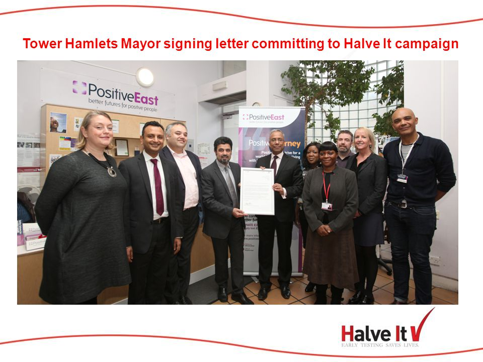 Tower Hamlets Mayor signing letter committing to Halve It campaign