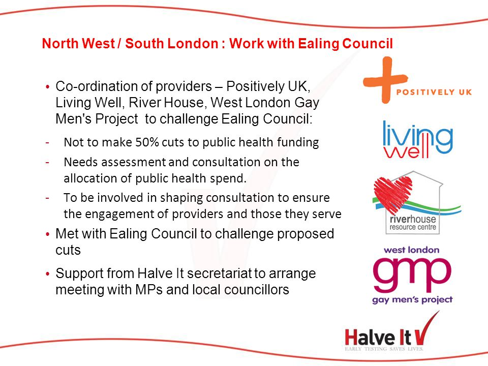 North West / South London : Work with Ealing Council Co-ordination of providers – Positively UK, Living Well, River House, West London Gay Men's Proje