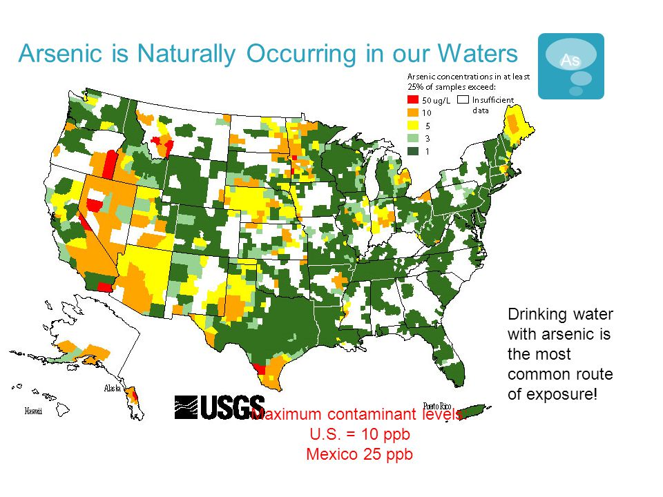 Arsenic is Naturally Occurring in our Waters Drinking water with arsenic is the most common route of exposure! Maximum contaminant levels: U.S. = 10 p
