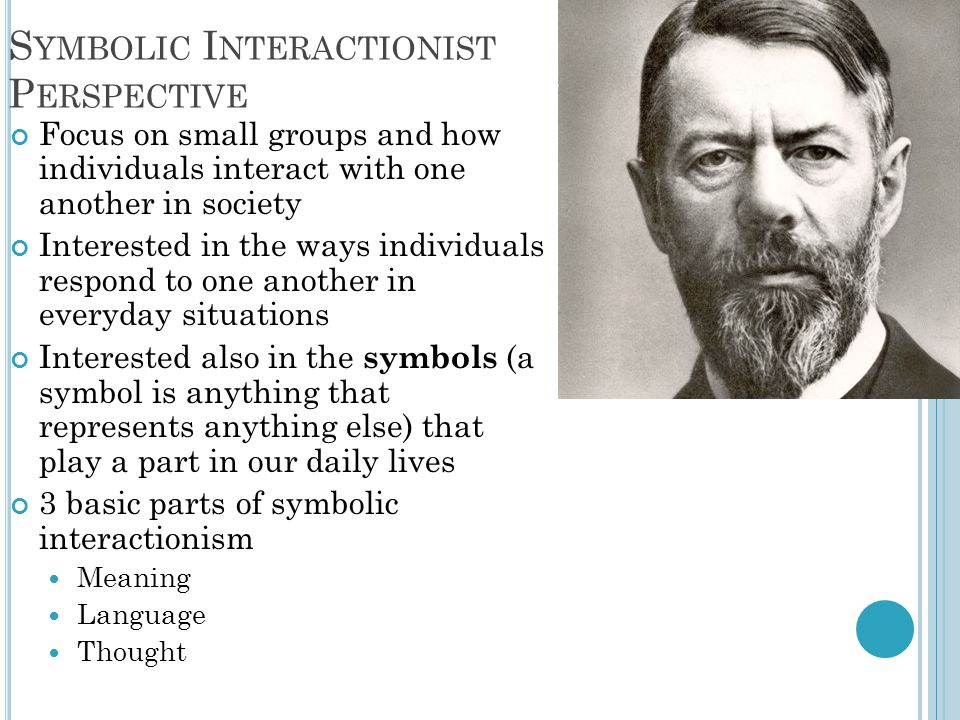 S YMBOLIC I NTERACTIONIST P ERSPECTIVE Focus on small groups and how individuals interact with one another in society Interested in the ways individua