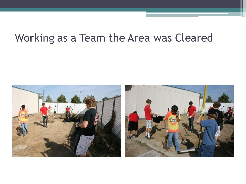 Working as a Team the Area was Cleared