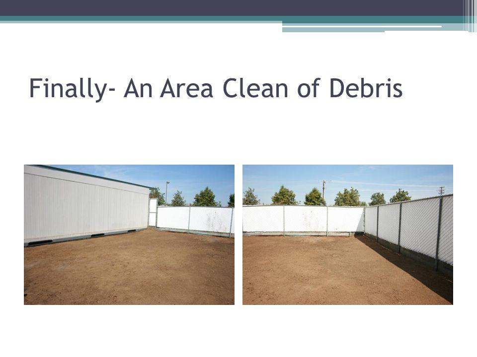 Finally- An Area Clean of Debris