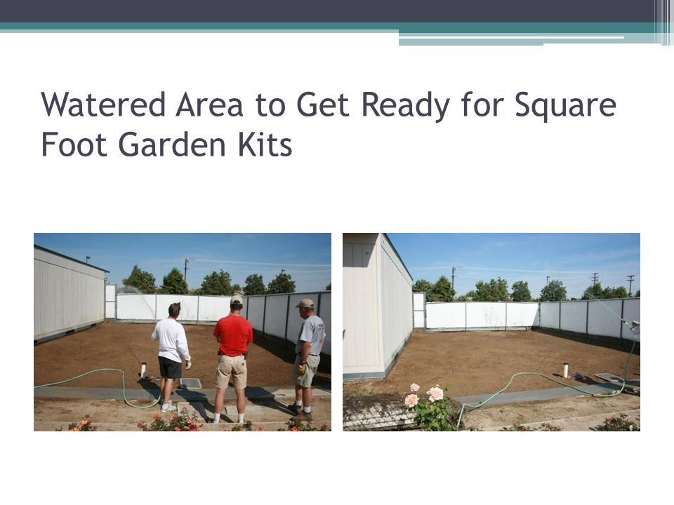 Watered Area to Get Ready for Square Foot Garden Kits