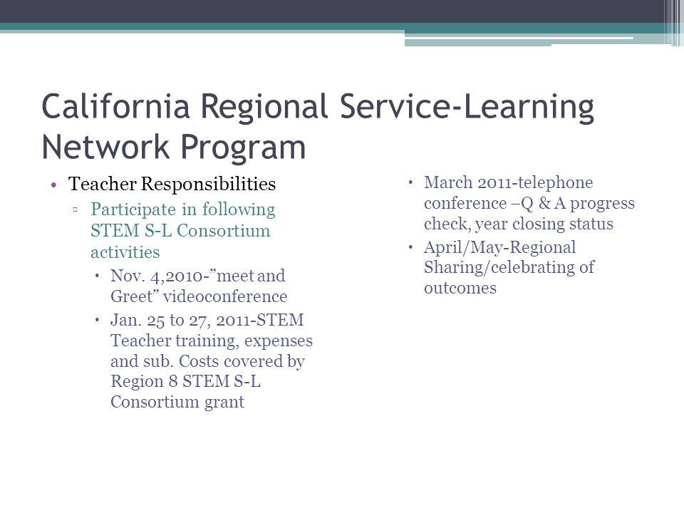 California Regional Service-Learning Network Program Teacher Responsibilities ▫Participate in following STEM S-L Consortium activities  Nov.